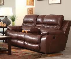 catnapper patton top grain italian leather lay flat reclining console loveseat walnut