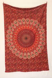 twin red mandala tapestry peacock