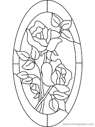 2 roses in a oval border sun catcher pattern free coloring pages for s stained gl flower coloring pages 06
