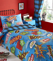 Kapow Comic Book Boys Blue Reversible Duvet Cover Bedding Curtain Pictures  With Excelent For Ee Df ...