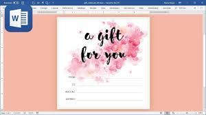 How To Design A Voucher In Word How To Create Gift Card In Microsoft Word Tutorial