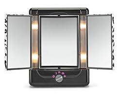 conair two sided lighted makeup mirror with 3 panels and 4 light settings cheetah