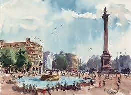 trafalgar square london watercolour