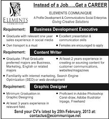 designer job elements communique job content writer feb  graphic designer job elements communique job content writer 17 feb 2013