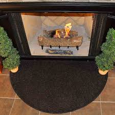 flame 4 half round polyester fireplace rug black