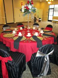 tablecloth and chair covers red table cloth black great idea for a theme
