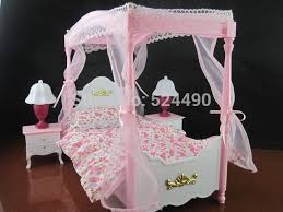 dollhouse furniture sweet dream pink princess bed set bedroom accessories for barbie ken doll baby toys bedroom furniture barbie ken