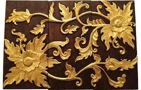 elegant gold wood carved wall art