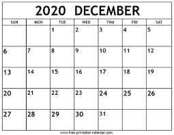 December 2020 Calendar Template Free Printable Calendar Com