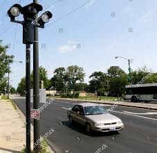 Chicago Blue Light Camera Locations Car Passes Red Light Camera Intersection Chicago Editorial