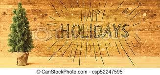 Retro Holidays Calligraphy Happy Holidays Retro Christmas Tree Snowflakes