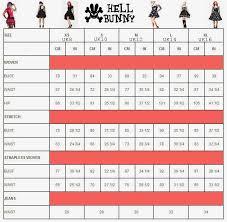 I Am Alternative Hell Bunny Clothing Size Chart