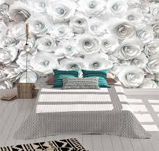 relaxing white flowers wall mural