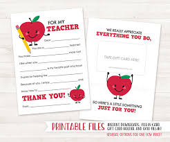 Printable Thank You Cards For Teachers End Of Year Teacher Gift Card Holder Teacher Appreciation