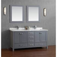 Gray Bathroom Vanity In Simple Concept By Combining Simple Grey Pottery  Cabinet Double Mirror And Lamp