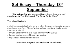 the story of an hour kate chopin ppt video online set essay thursday 18th
