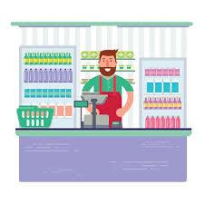 Beardy Man Working As Cashier In Shop Or Supermarket