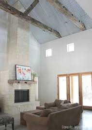 corrugated metal ceiling rustic beams and stone ceiling u34 ceiling
