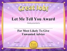 Certificates Funny Template Free Printable Funny Work Award Templates Awards Template