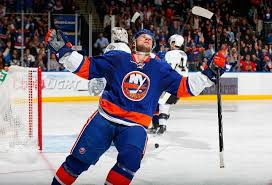 Josh Bailey of the Islanders celebrates his third period goal against the  Penguins 1-24-14 | Hockey fights, New york islanders, Hockey goal