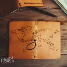 Quaderno travel journal in cuoio con disegno personalizzabile con