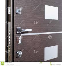 Open Armored Door. Door Lock, Dark Brown Door Closeup. Modern Interior  Design, Door Handle. New House Concept. Real Estate. Stock Photo - Image of  background, entrance: 117675842
