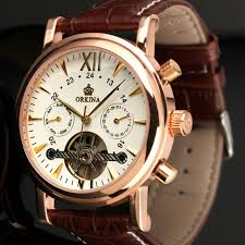 orkina classic day date calendar automatic tourbillon brown leather strap og men s mechanical watch rose gold montre homme