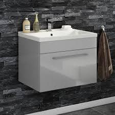 vellamo aspire 600mm wall mounted 1 drawer vanity unit basin gloss grey
