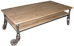 ... Brown Rectangle Industrial Unfinished Wood Coffee Tables With Wheels  Designs Ideas For Living Room ...