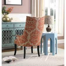 orange fabric living room accent chair