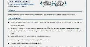mcse resume samples ccna resume for freshers