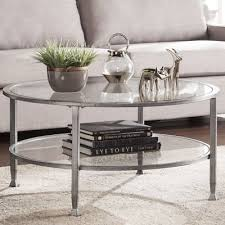 contemporary modern coffee table round glass table top distressed silver base