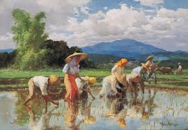 paintings of fernando amorsolo planting rice painting ideas