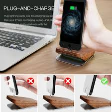baseus duowood desk charging station holder for apple iphone 7 7 plus lightning dock stand for iphone