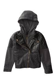 image of steve madden fleece hood faux leather jacket little girls