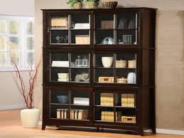 f brown glossy teak wood mission bookcase with double glass doors