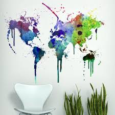 Small Picture Modern Urban and Contemporary Watercolor World Map Wall Decals