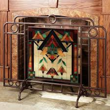 winsome brown iron plus attractive stained glass fireplace screen for fireplace cover design idea at the traditional home interior schemes