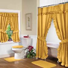 elegant gold yellow shower curtains with valance and white toilet plus white tubs and laminate floor