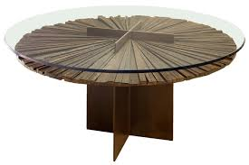 contemporary table wooden round in reclaimed material mandala