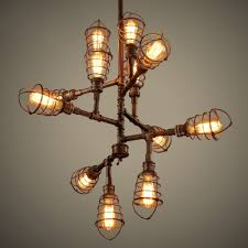 12 light wrought iron industrial led chandelier with wire cages