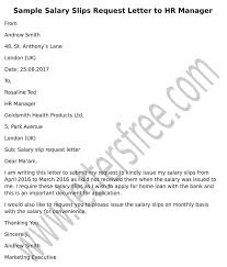 Sample Request Letter To Hr Manager For Salary Slips