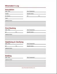 Winemaking Log Chart A Free And Simple Wine Making Log Winemakers Academy
