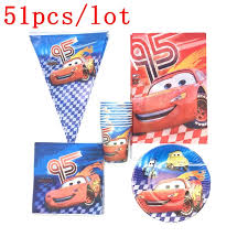 Lightning Mcqueen Birthday Party 51pcs Lot Lightning Mcqueen Cars Theme Party Baby Shower