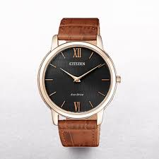 gents citizen eco drive classic rose gold case on a leather strap p1471 3390 image jpg