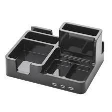 on my desk omd desk organizer and docking station for ipad iphone tablet smartphone with 3 usb ports in black art79001 the home depot