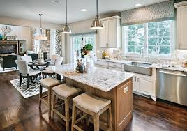 kitchen opens to breakfast area and family room
