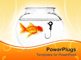 powerpoint template goldfish in fishbowl fishing hook in ppt template he words get help here symbolizing the need to offer support and answers
