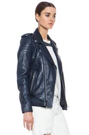 image 4 of blk dnm iconic leather motorcycle jacket in ink blue