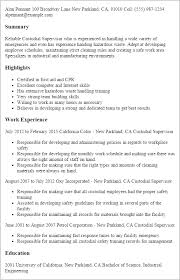 resume templates custodial supervisor supervisor resume templates